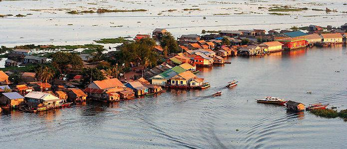 Fishing homes on the Tonle Sap River, Cambodia