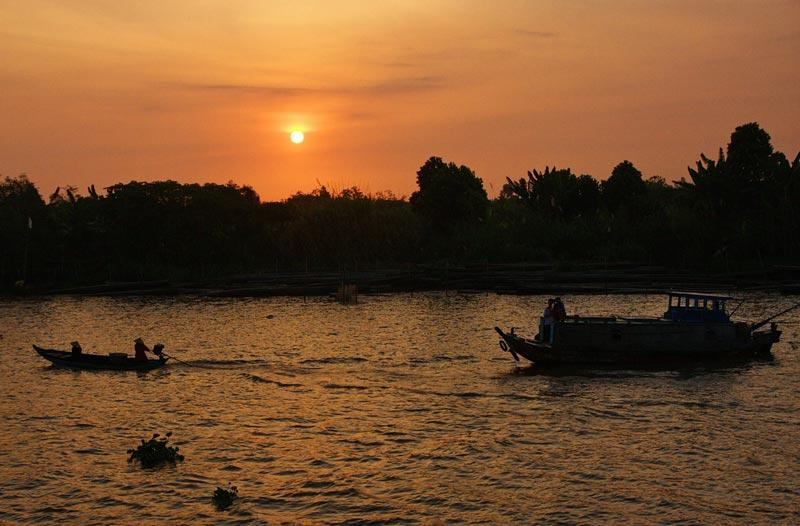 Sunset On the Mekong River In Cambodia